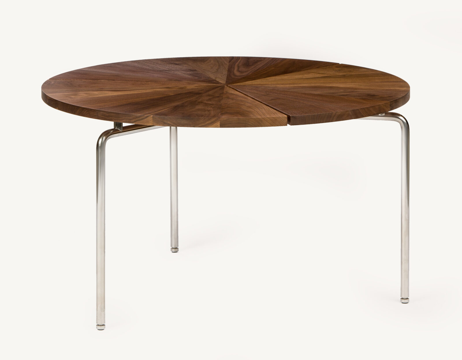 BassamFellows CB-36 Circular Coffee Table in solid Walnut and polished stainless steel base, credit ELDON ZIMMERMAN