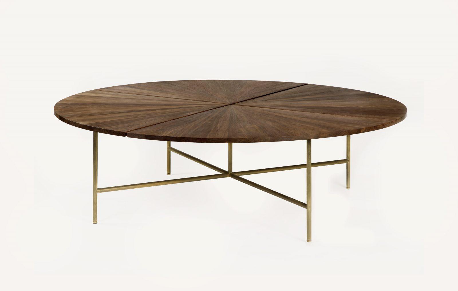 BassamFellows CB-38-240 Circular Dining Table Grand in solid Walnut and oxidized brass base, credit ELDON ZIMMERMAN