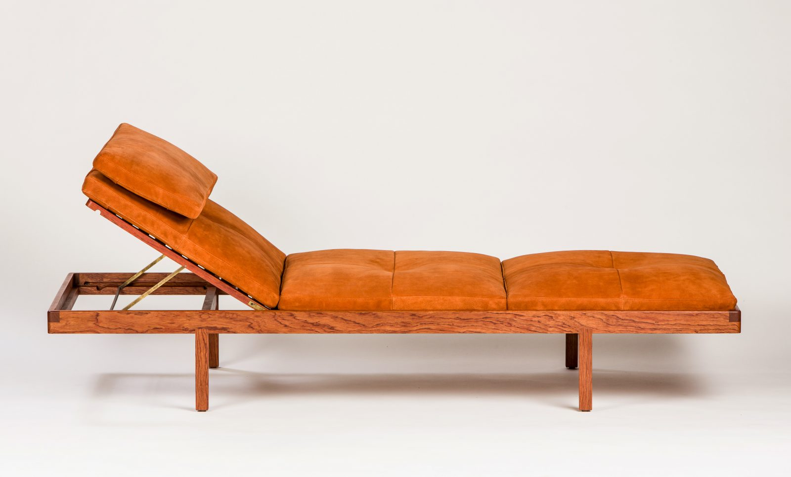 BassamFellows CB-41 Daybed in bespoke solid African Rosewood and French calf suede, detail, credit ELDON ZIMMERMAN