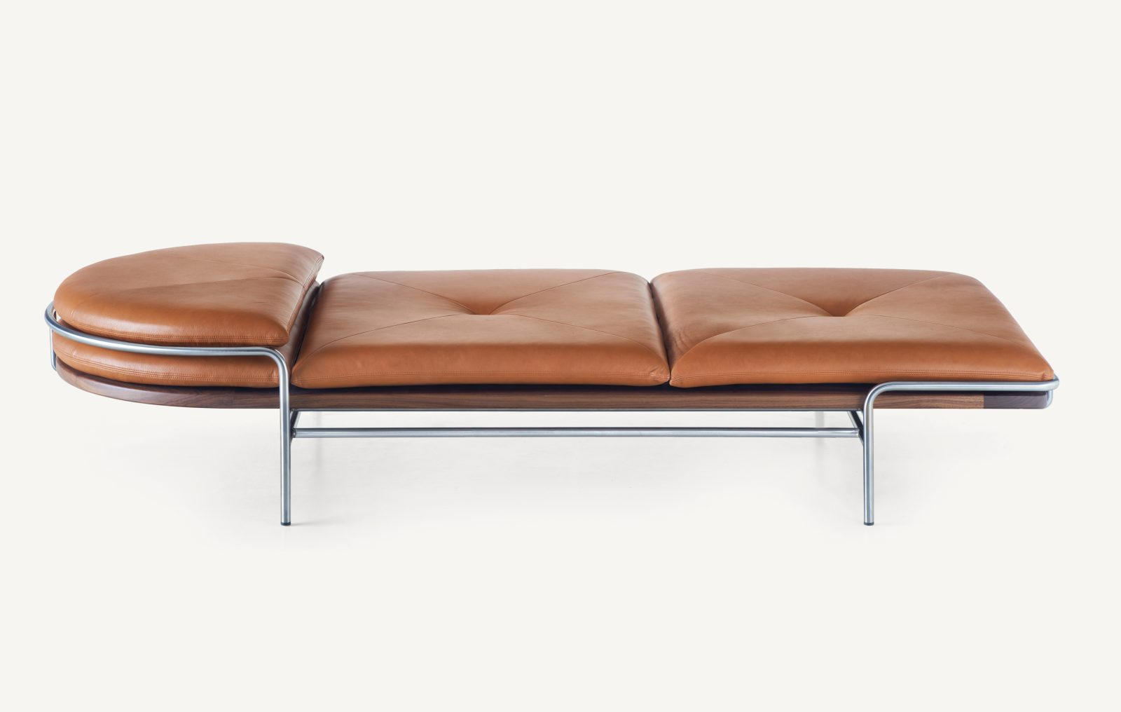BassamFellows CB-457 Geometric Daybed in Walnut and Satin Nickel, profile, credit MARCO FAVALI