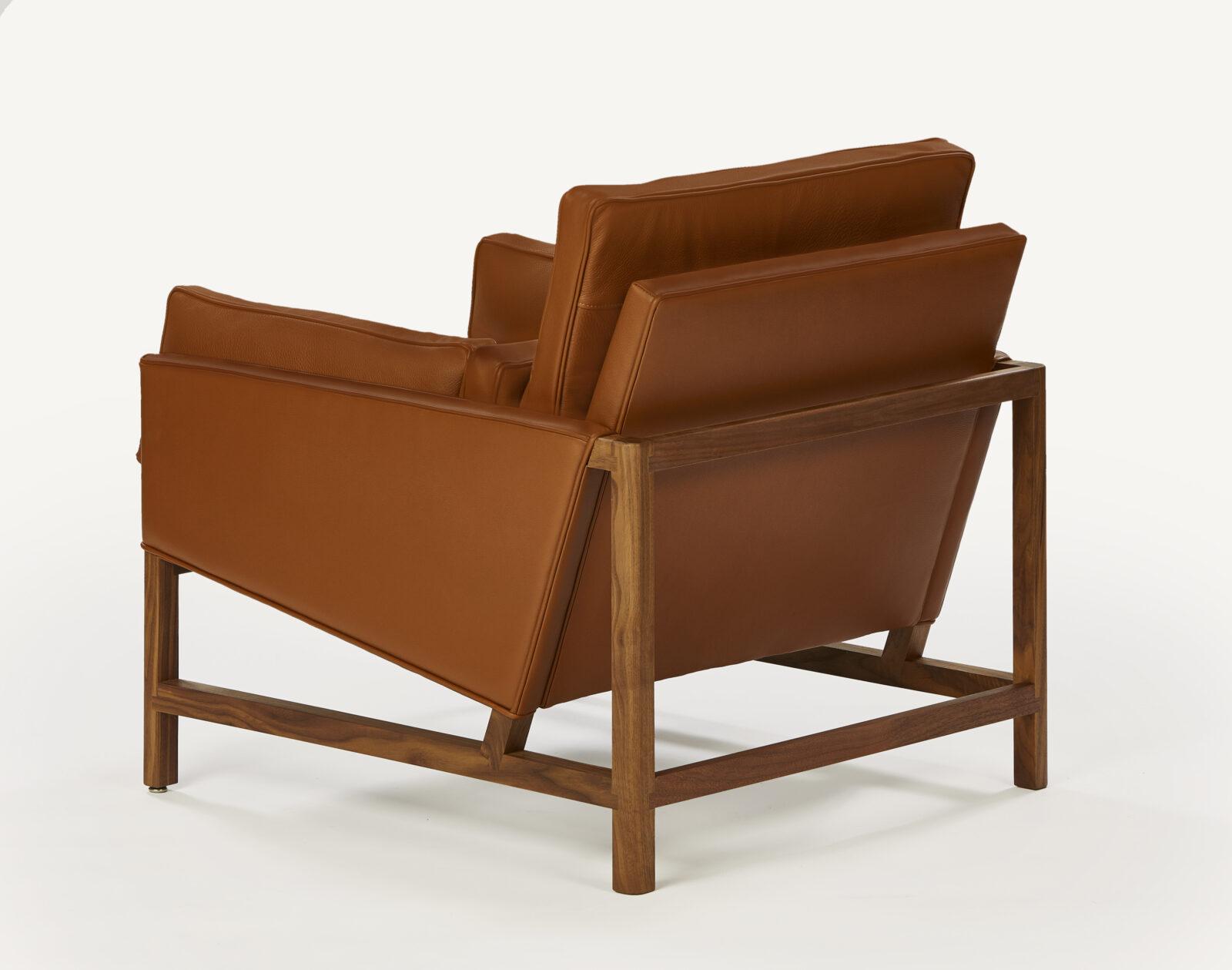 BassamFellows CB-50 Low Back Lounge Chair with solid Walnut frame, credit, ELDON ZIMMERMAN
