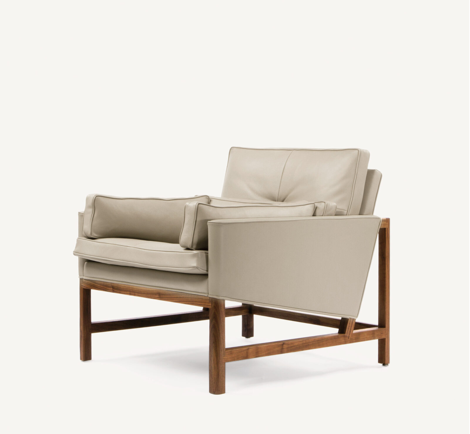 BassamFellows CB-50 Low Back Lounge Chair with solid Walnut frame, credit MATTEO MENDIOLA