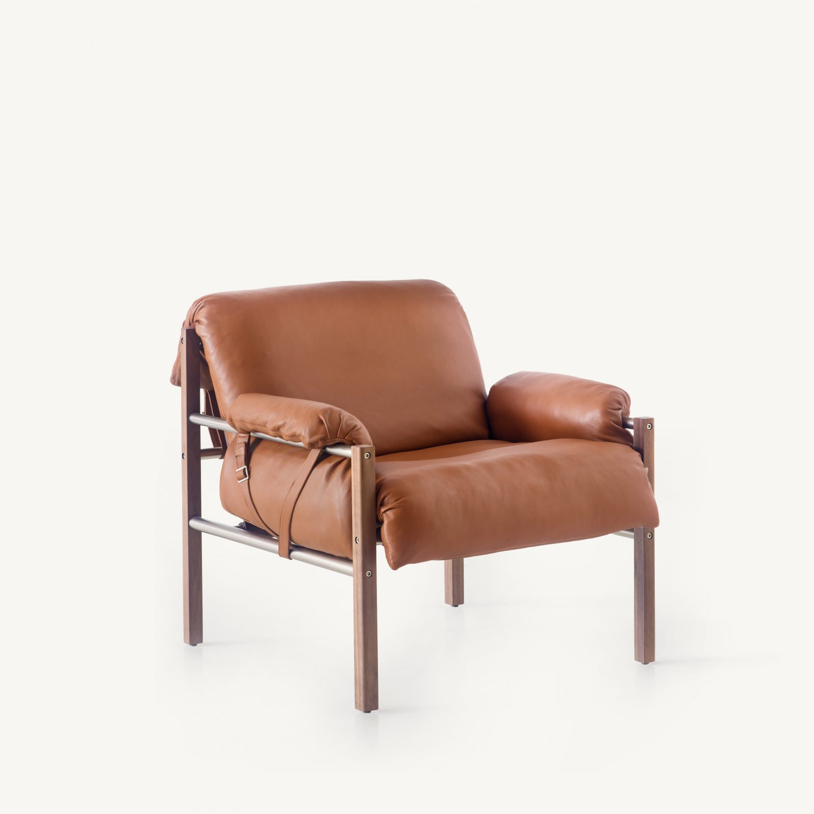 BassamFellows CB-570 Sling Club Chair in solid Walnut and plated steel, 3:4 front, credit MARCO FAVALLI