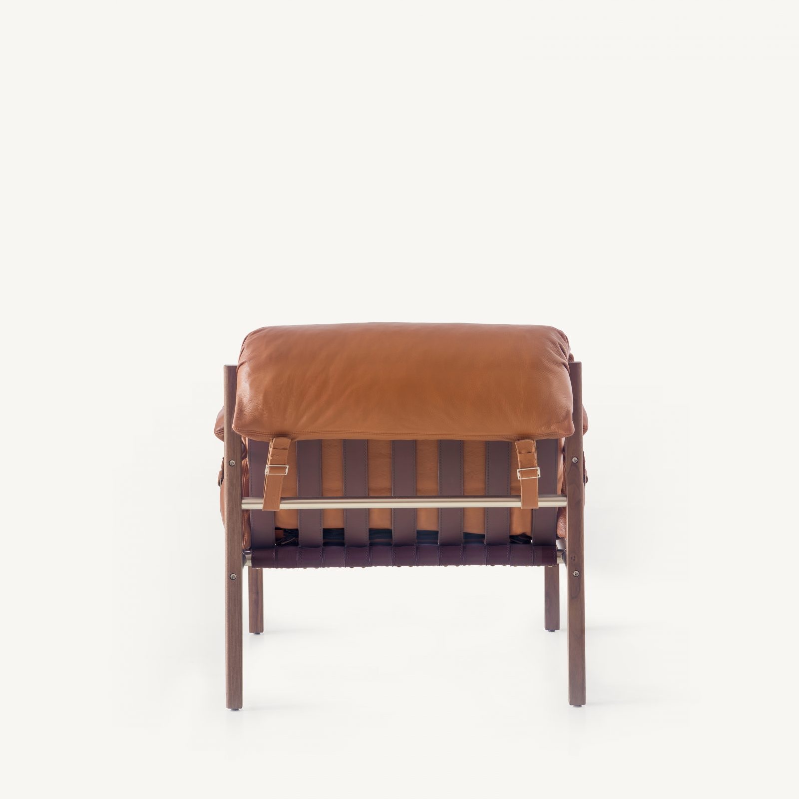 BassamFellows CB-570 Sling Club Chair in solid Walnut and plated steel, back, credit MARCO FAVALLI