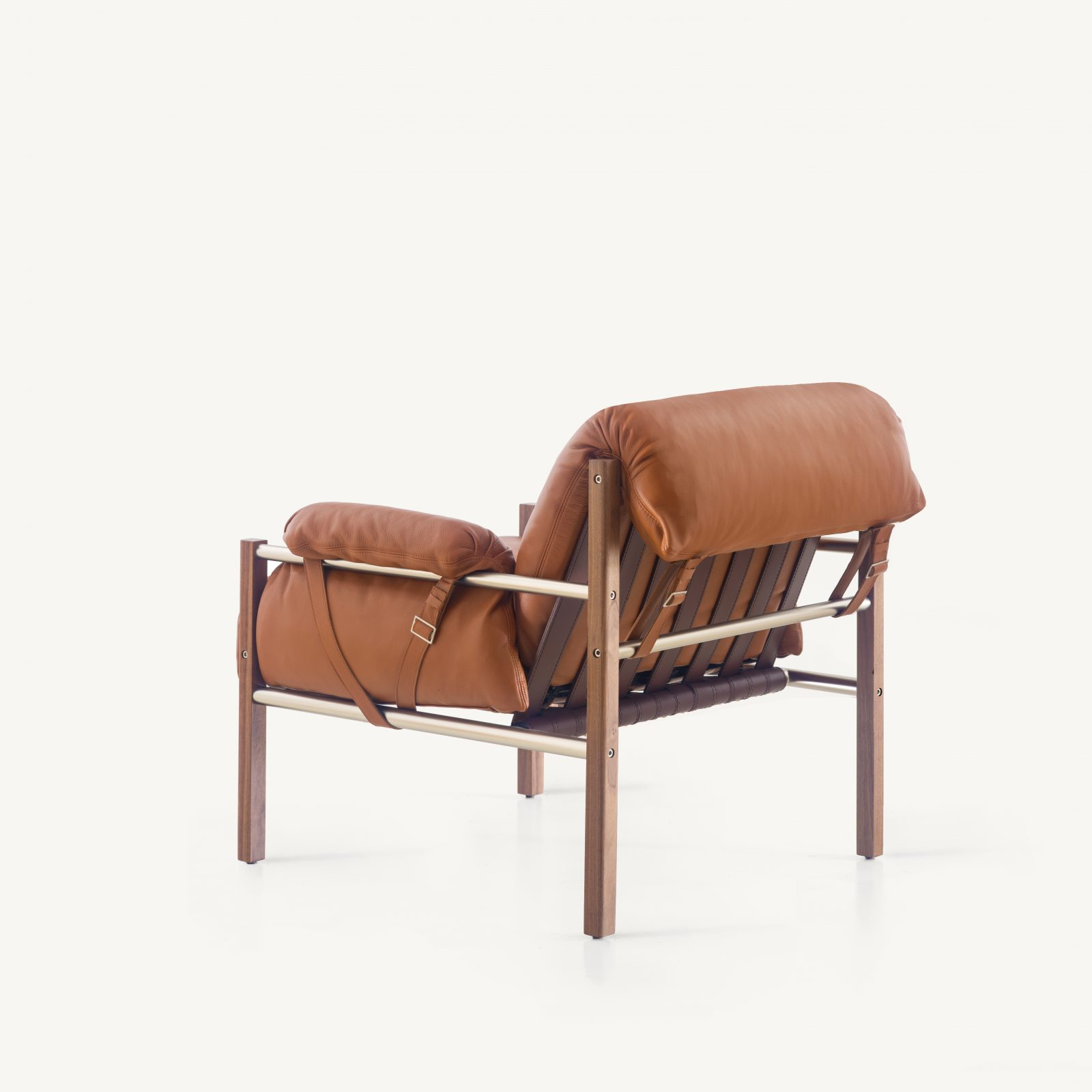 BassamFellows CB-570 Sling Club Chair in solid Walnut and plated steel, credit MARCO FAVALLI