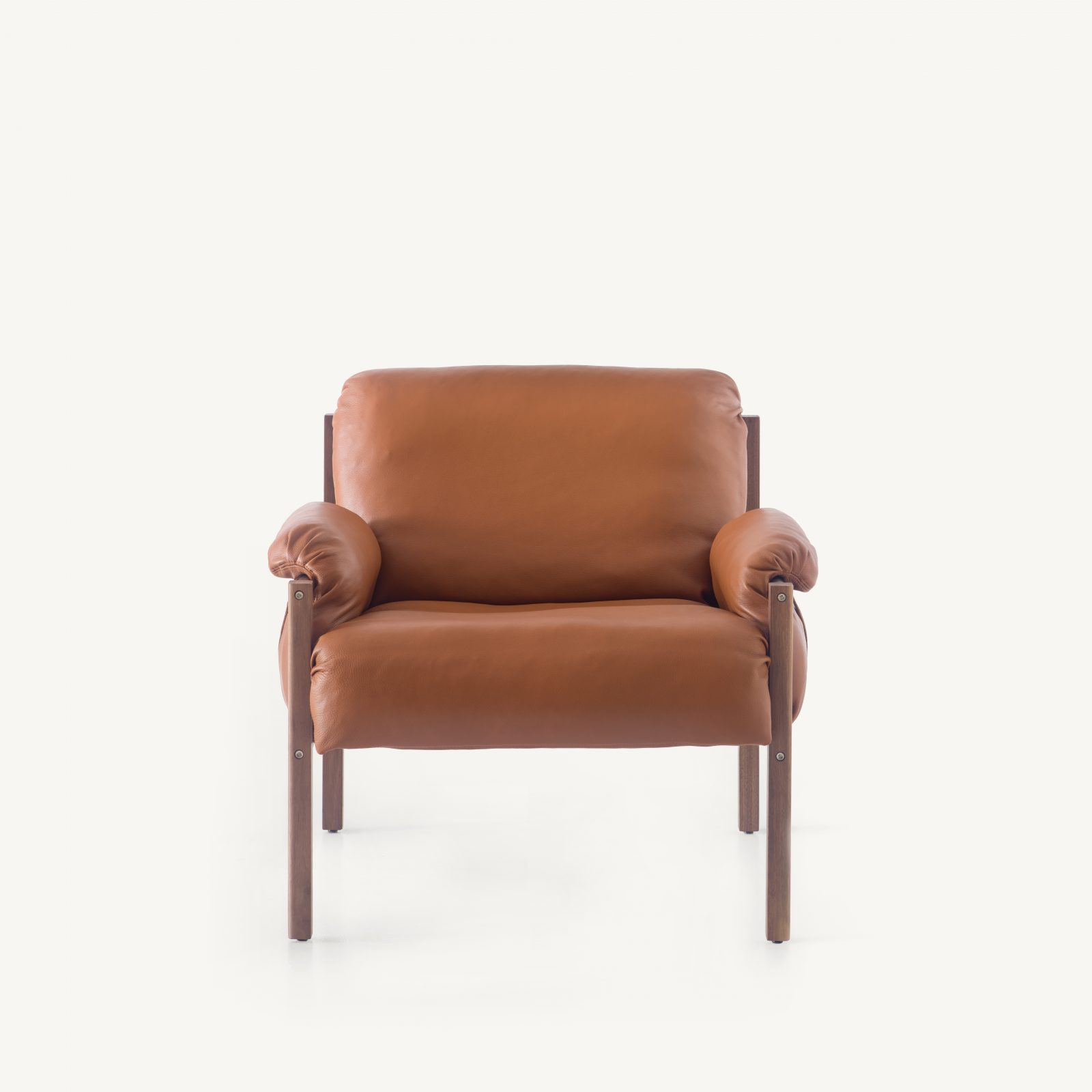 BassamFellows CB-570 Sling Club Chair in solid Walnut and plated steel, front, credit MARCO FAVALLI