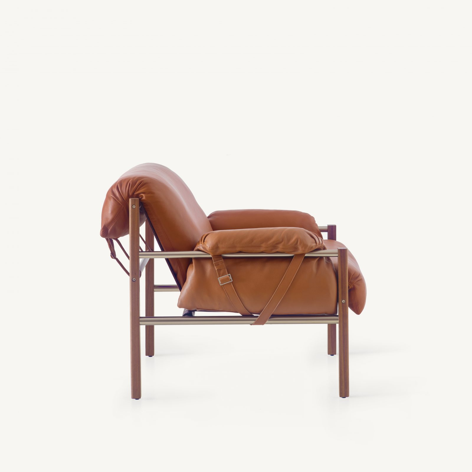 BassamFellows CB-570 Sling Club Chair in solid Walnut and plated steel, side, credit MARCO FAVALLI